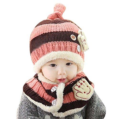 dayan-mode-baby-madchen-kinder-wolle-hut-schal-set-gestrickt-plusch-hut-schal-farbe-rosa