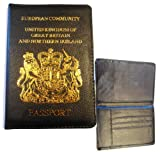 Passport cover holder real leather protection cover GB Northern Ireland in Black