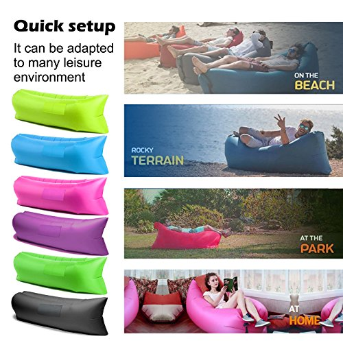 Mokasi® Outdoor Inflatable Lounger, Portable Lightweight Nylon Fabric Air Bag Sofa Couch Hammock Dream Chair for Camping Beach Garden Pool Party Sleeping with Carry Bag