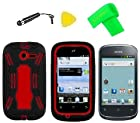 Heavy Duty Hybrid Phone Cover Case Cell Phone Accessory + Extreme Band + Stylus Pen + LCD Screen Protector + Yellow Pry Tool For Straight Talk Net10 Huawei Ascend Y M866 H866C / Huawei Ascend Y 201 U8666 (Black/Red)