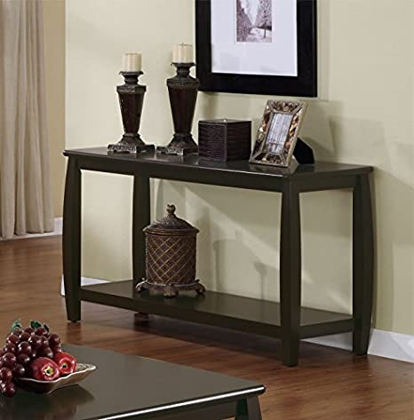Modern Style Sofa Table With Storage Shelf And Wooden Post Legs In Rich Cappuccino Finish. (Item# Vista Furniture CF701079)