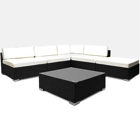 Poly Rattan Lounge Set Creme Schwarz XXL ✔ 5cm dicke Ruckenkissen ✔ Einzelelemente flexibel kombinierbar ✔ UV-beständiges Polyrattan ✔ Sitzgarnitur Couch Sitzgruppe ✔ Modellauswahl