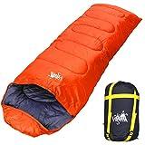 丸洗いのできる寝袋 封筒型 最低使用温度 -15℃ コンパクト収納袋付き シュラフ 寝袋 オールシーズン (オールオレンジ)