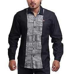 PP Shirts Men Cotton Casual Shirts ( Black XXXL )