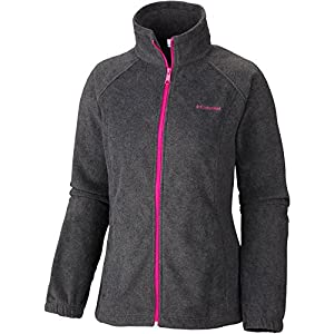 Columbia Women's Benton Springs Full Zip, Charcoal Heather/Groovy Pink, X-Large