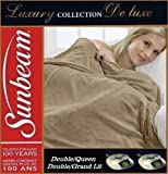 "$260 Queen/Full ~Mushroom~ SUNBEAM ""Luxury Collection Channelled Microplush"" Heated Heating Electric Blanket"