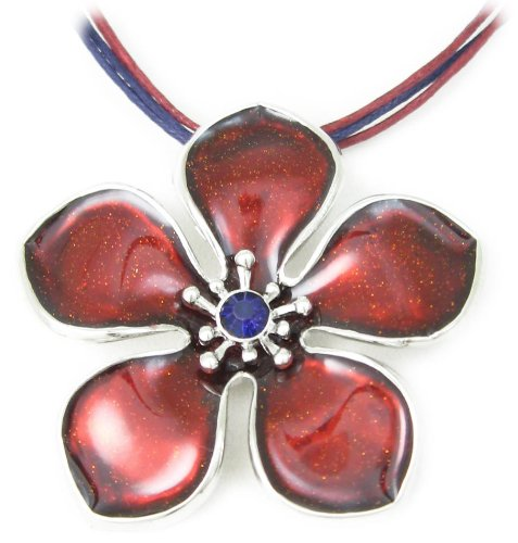 Red Enamel Flower Pendant with purple crystal on multicord