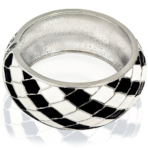 Hinged Bangle Bracelet-Diagonal Black and White Stripes Design
