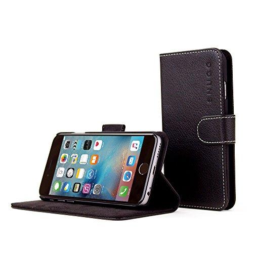 Custodia per iPhone 6, Snugg™ - Custodia Nera a Libretto in Ecopelle con Garanzia a Vita per Apple iPhone 6
