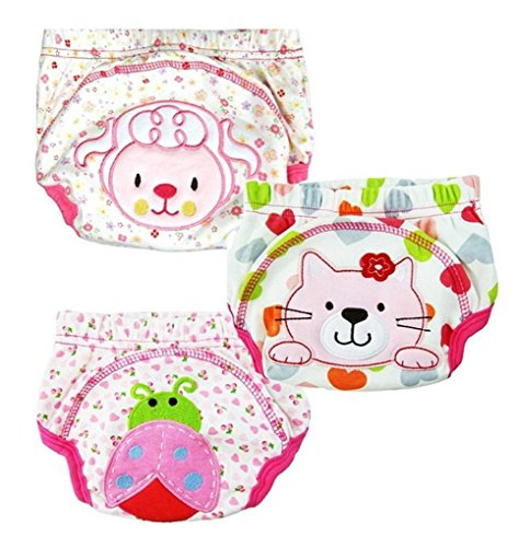 XHtrade 3Pcs nette Baby-Kinder-Training Pants Potty WC Hosen waschbare Tuch-Windel-Windel-Unterw?sche-M?dchen, XL