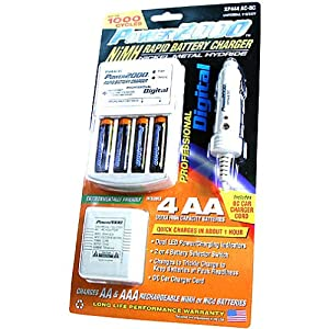 POWER 2000 XP444AC-DC NiMH Rechargeable AA Batteries with 110v/220v Charger