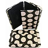 Pink Brown Polka Dot Laminated Thick Flat Wallet Clutch Purse