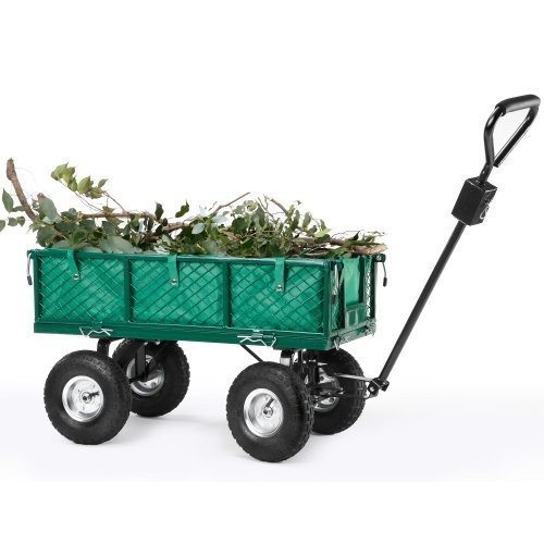 VonHaus All Terrain Heavy Duty Garden Cart - 770lbs Load Capacity, Folding Sides and 10-inch Off-Road Tires