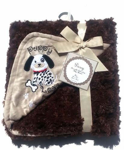 Reversible Embroidery Baby Blanket ~ Puppy Love - 1