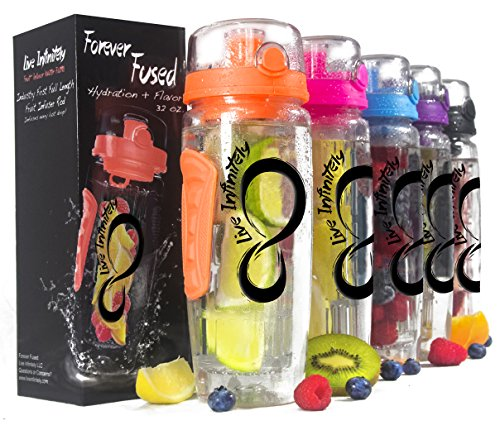 Live Infinitely Infuser Water Bottle with Recipe Ebook (Orange Peach, 32 oz)