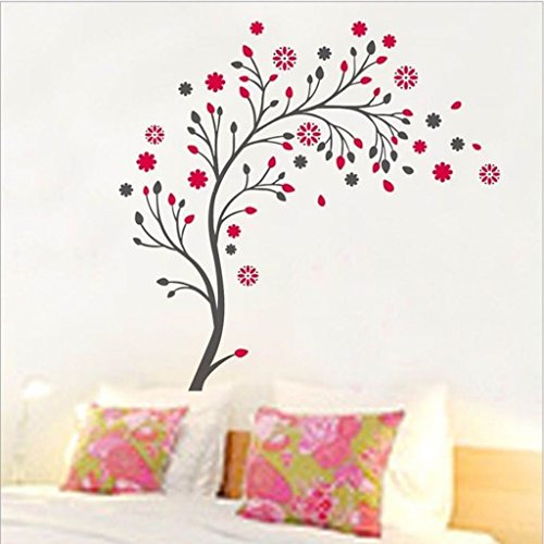 buy decals design beautiful magic tree with flowers wall sticker pvc vinyl 50 cm x 70 cm online at low prices in india amazonin - Wall Stickers Designs