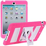 i-Blason ArmorBox Stand Series For Apple iPad Mini 3, iPad Mini, iPad Mini with Retina Display 7.9 Inch 2 Layer Convertible Hybrid Kids Friendly Protection Kick Stand Case (Multi Color) - Pink / White