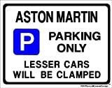 ASTON MARTIN Car Parking Sign- Gift for DB 6 V8 DB6 VANTAGE 2 4 model owner- Extra Large Size 205 x 270mm by Custom Made (Made in UK) (All fixing included)