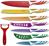 Chopmate Color Stainless Steel Anti-Bacterial Non-Stick Ceramic Coated 8 Piece Kitchen Knife Set