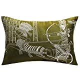 13 Odds Egyptian Pharoah On Chariot & Embroidered Cushion Cover - Olive Green & Silver