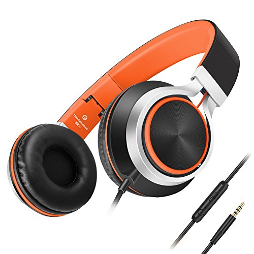 Headphones,AILIHEN C8 Lightweight Foldable Headphone with Microphone Mic and Volume Control for iPhone,iPad,iPod,Android Smartphones,PC,Laptop,Mac,Tablet,Headset (Black/Orange) (Black Head Phones With Microphone compare prices)
