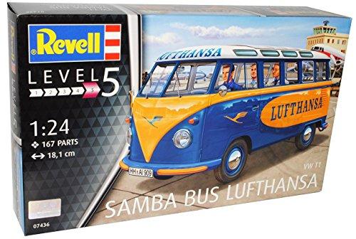 VW-Volkswagen-T1-Samba-Bus-Lufthansa-07436-Bausatz-Kit-124-Revell-Modell-Auto-mit-individiuellem-Wunschkennzeichen