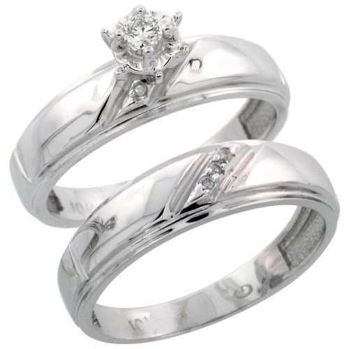 10k White Gold 2-Piece Diamond Engagement Ring Set, w/ 0.09 Carat Brilliant Cut Diamonds, 7/32 in. (5.5mm) wide, Size 9.5