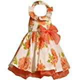 Size-3T,BNJ-0914R WHITE ORANGE GLITTERED FLORAL PRINT HALTER Special Occasion Wedding Flower Girl Easter Party Dress,R20914 Bonnie Jean TODDLERS 2T-4T