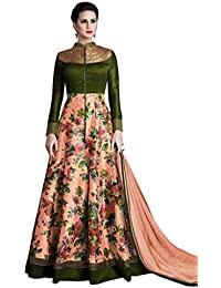 1 Stop Fashion Green & Peach Colour Banglori Silk & Net With Embroidery & Print Work Semi-Stitched Anarkali Suit