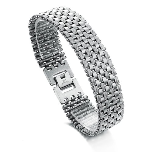 OPK-New Fashion Jewelry Simple Cool Men's 316L Stainless Steel Bracelet Bangle Best Gift 7.72 Inch Length 42.3G Weight
