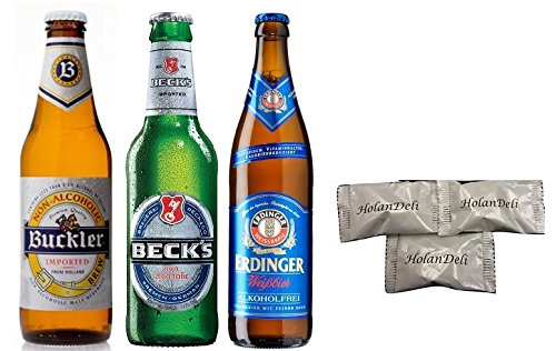 (pack of 6) Assorted Non-alcoholic Beer ( Becks, Buckler, Erdinger Weissbier ). Includes Our Exclusive HolanDeli Chocolate Mints. (Alcohol Beer compare prices)