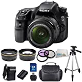 Sony SLT-A58K A58 A58K SLTA58K Digital SLR Kit with 18-55mm Zoom Lens - 20.1MP SLR Camera with 3-Inch LCD Screen (Black). Includes High Definition Wide Angle + Telephoto Lenses + 3 Piece Filter K