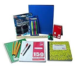 School Supplies For Kids, Boys. Includes: Folder, Notebooks, Pencils, Ruler, Sharpener, Book Cover, Pens, Loose-Leaf Paper and More by Glitter and Gumdrops
