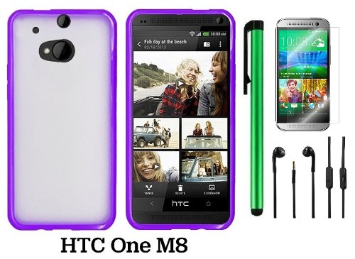 Htc One M8 Premium Transparent Clear Composite Material Back Cover Case (For 2014 Htc New Flagship Android Phone) + 3.5Mm Stereo Earphones + Screen Protector Film + 1 Of New Assorted Color Metal Stylus Touch Screen Pen (Purple Tpu Edge With Clear Plastic