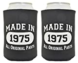 40th Birthday Gift Made 1975 Can Coolies 2 Pack Black