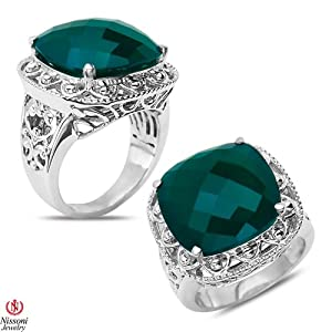 Green Onyx Fashion Ring in Sterling Silver 925 by Nissoni Jewelry