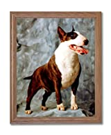 Bull Terrier Puppy Dog Kids Room Animal Home Decor Wall Picture Oak Framed Art Print