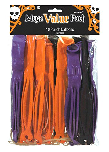 Amscan-Creepy-Halloween-Ghoulish-Punch-Balloon-16-Piece-Multicolor-12-x-7-12