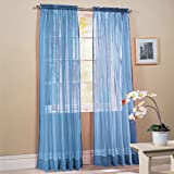 51SDZuyIebL. SL160  2 Piece Solid Sky Blue Sheer Window Curtains/drape/panels/treatment 58w X 84l