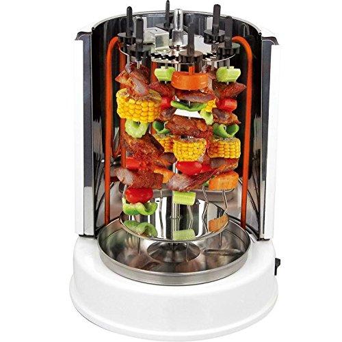 Syntrox Germany Grill de Kebab avec porte-brochettes pivotant à 360 Blanc