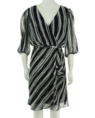 Donna Morgan V-Neck Three Quarter Sleeve Dress Navy/Ivory 6