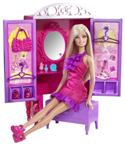 Barbie Dress-up to Make-up Closet Plus Doll