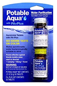 Potable Aqua Water Purification Tablets with PA Plus-Super Pack-2-Packs (100 Tablets Per Package)