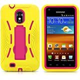 Galaxy S2 Case, MagicMobile® Hybrid Shockproof Impact Resistant Rugged Armor Defender with Kickstand Plastic Shell + Soft Silicone / Yellow Hot Pink (Compatible with Model Epic Touch SGH-D710)
