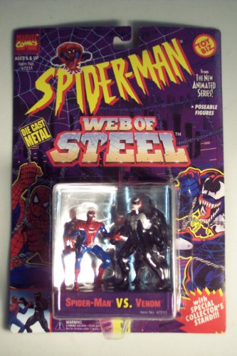 Spiderman Web Of Steel Die Cast Metal Collectible Figures - Spiderman vs Venom - 1
