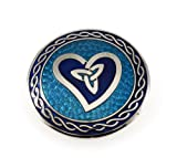 Handmade Fine Glass Enamelled Celtic Wave Heart with Trinity Knot Blue Brooch ~ For Inner Peace