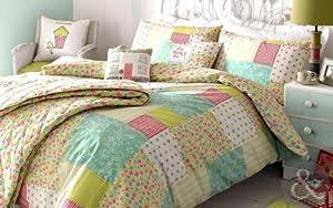 KIRSTIE ALLSOPP PATCHWORK BEDDING - Luxury Floral 100% Cotton Duvet Cover Sets Spring - Teal Blue ( green pink ) King Size Quilt Cover ( kingsize )