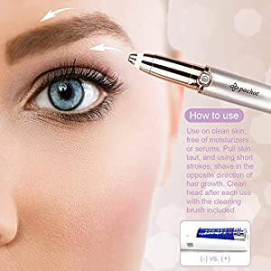 Eyebrow Hair Remover - Eyebrow Razor - Eyebrow Trimmer for Women - Painless Face Hair Remover for Women - Battery, Replacement Head Included