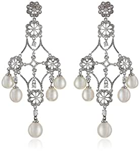 Sterling Silver Pave Cubic Zirconia and Freshwater Cultured Pearl Chandelier Earrings