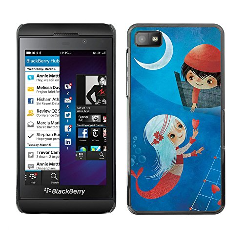 LASTONE PHONE CASE / Slim Protector Hard Shell Cover Case for Blackberry Z10 / Cool Painting Moon Romantic Mermaid (Cas Blackberry Z10 compare prices)